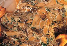 Terrine de champignons à la compotée de raisins